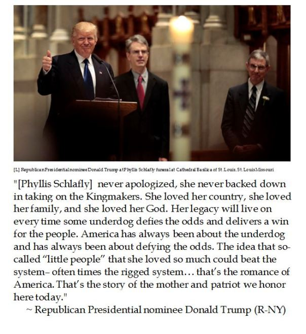 Donald Trump eulogizes Phyllis Schlafly