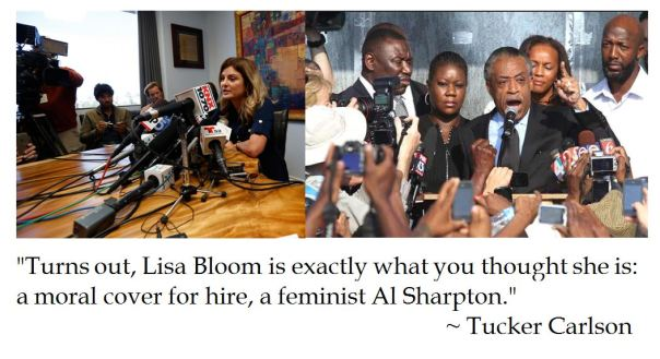 Tucker Carlson Dubs Lisa Bloom as a Moral Cover for Hire like Al Sharpton