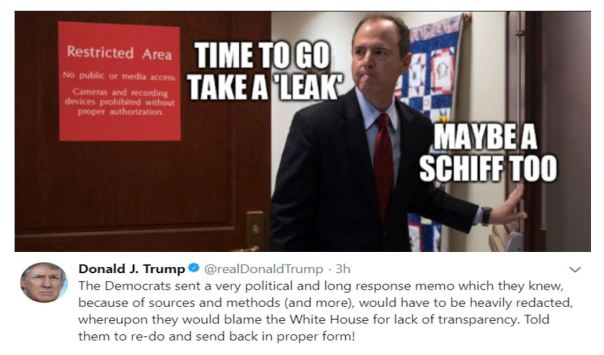 President Donald Trump on the Democrat Memo