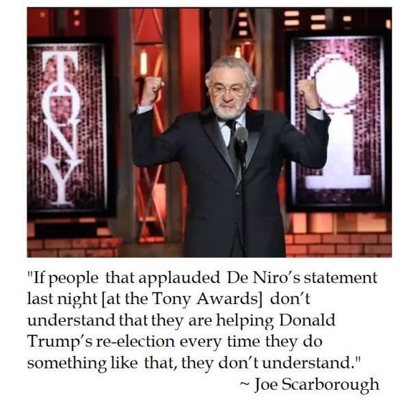 Joe Scarborough chides Robert De Niro's vulger rebuke of President Trump at the Tony Awards